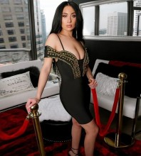 Rayon - Black Strapy Mid Sleeve Mini Metal Studded Bandage Dress SW064-Black
