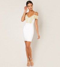 Rayon - White Strapy Mid Sleeve Mini Metal Studded Bandage Dress SW064-White