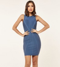Rayon - Dark Blue Round Neck Sleeveless Mini Bandage Dress SW069-Dark-Blue