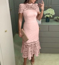 Pink Cut Out Lace Midi Short Sleeve High Neck Bodycon Dress TJ1158-Pink