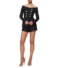 Off Shoulder Long Sleeve 2 Piece Fashion Bodycon Suit YSP0001-Black