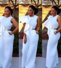 Round Neck Sleeveless Fashion Bodycon Jumpsuits YW0001-White