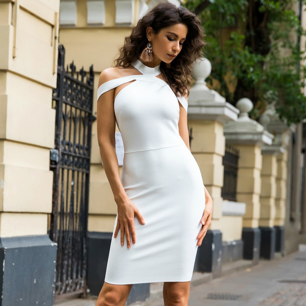 Halter Sleeveless Mini Cut Out Backless White Wonderful Bandage Dress