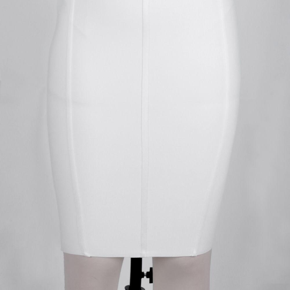 White Striped Over Knee Sleeveless High Neck Bandage Dress DPHK039-White