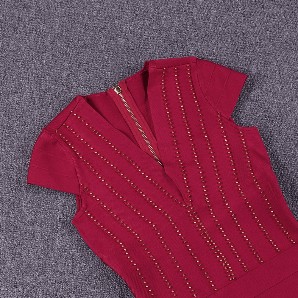 Rayon - Red V Neck Cap Sleeve Mini Bead Stripe Fashion Bandage Dress SW027-Red