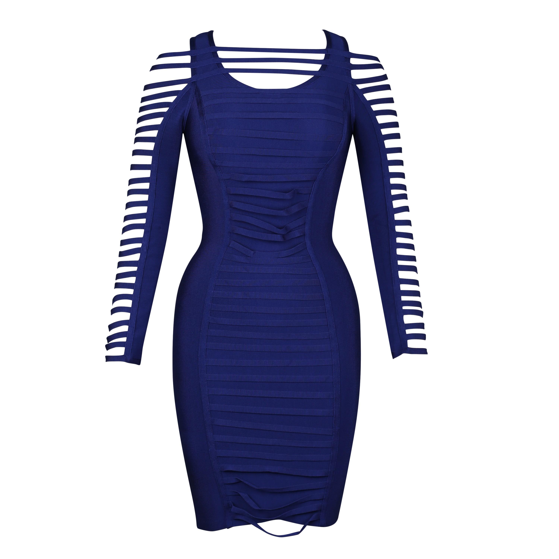 Blue Off Shoulder Long Sleeve Mini Cut Out Evening Bandage Dress HI937-Blue