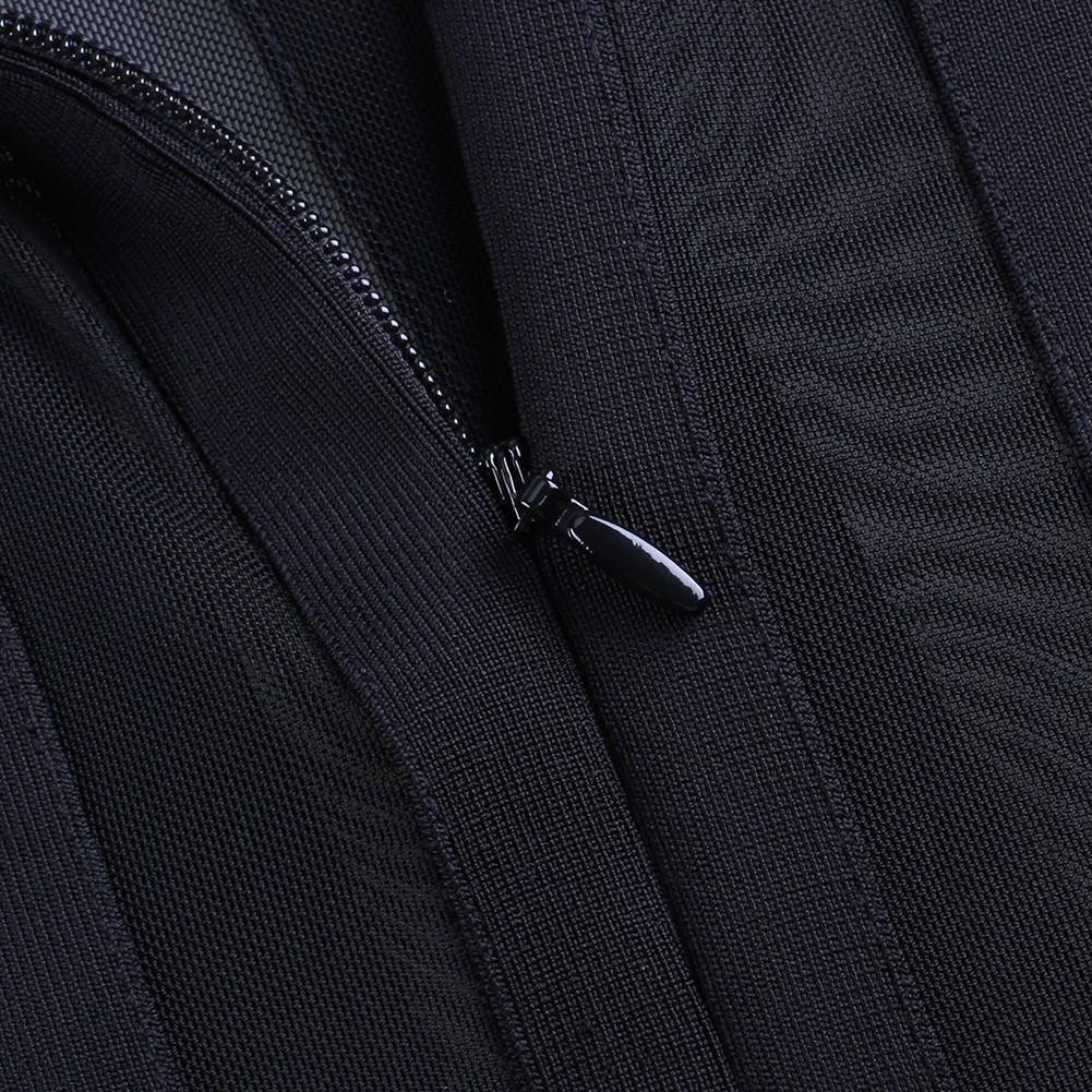 Black Round Neck Long Sleeve Mini Feather Fashion Bandage Dress HB5280-Black