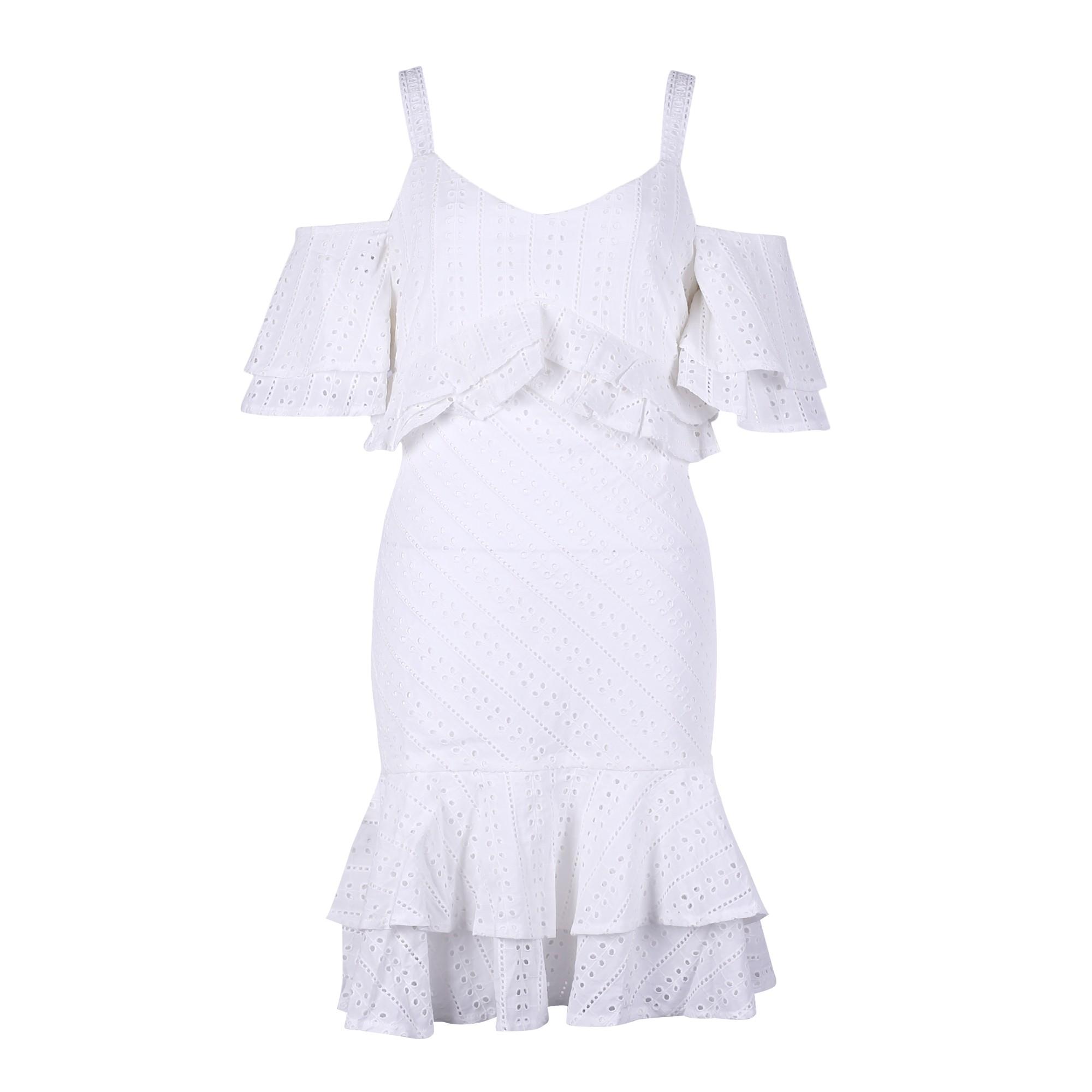 Rayon - White V Neck Shortsleeve Mini Strapy Mesh Fashion Bodycon Dress HJ534-White