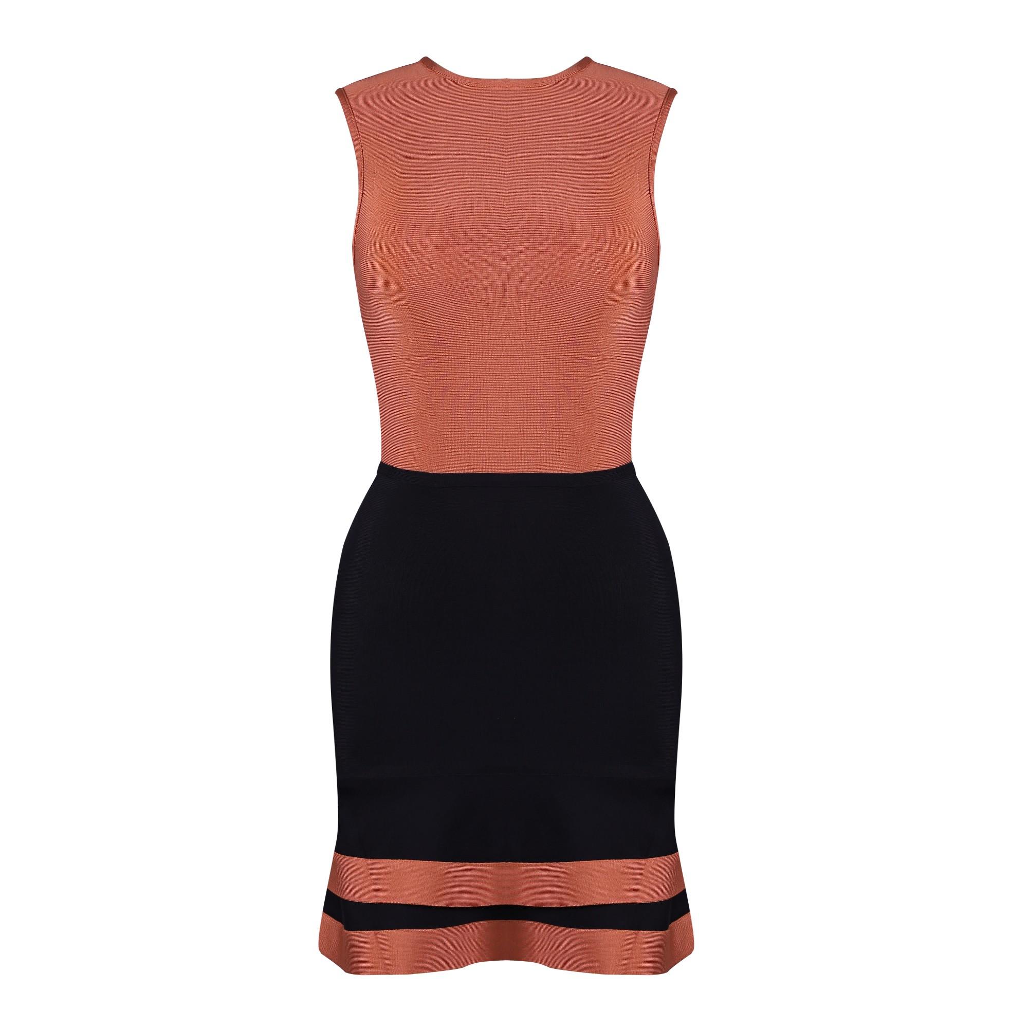 Rayon - Orange Round Neck Sleeveless Mini Mermaid Dress Color Mosaic High Quality Bandage Dress HJ536-Orange