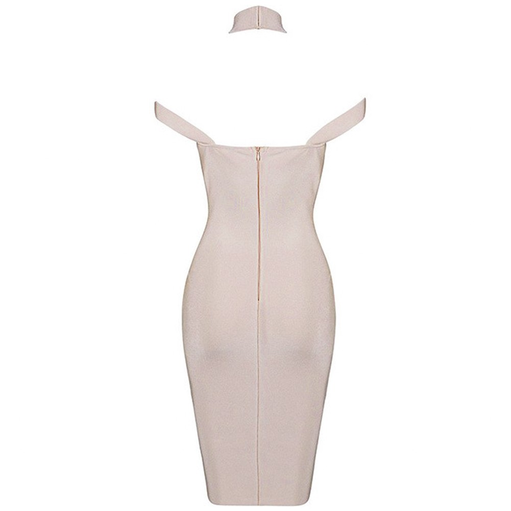 Halter Sleeveless Mini Cut Out Backless Nude Wonderful Bandage Dress