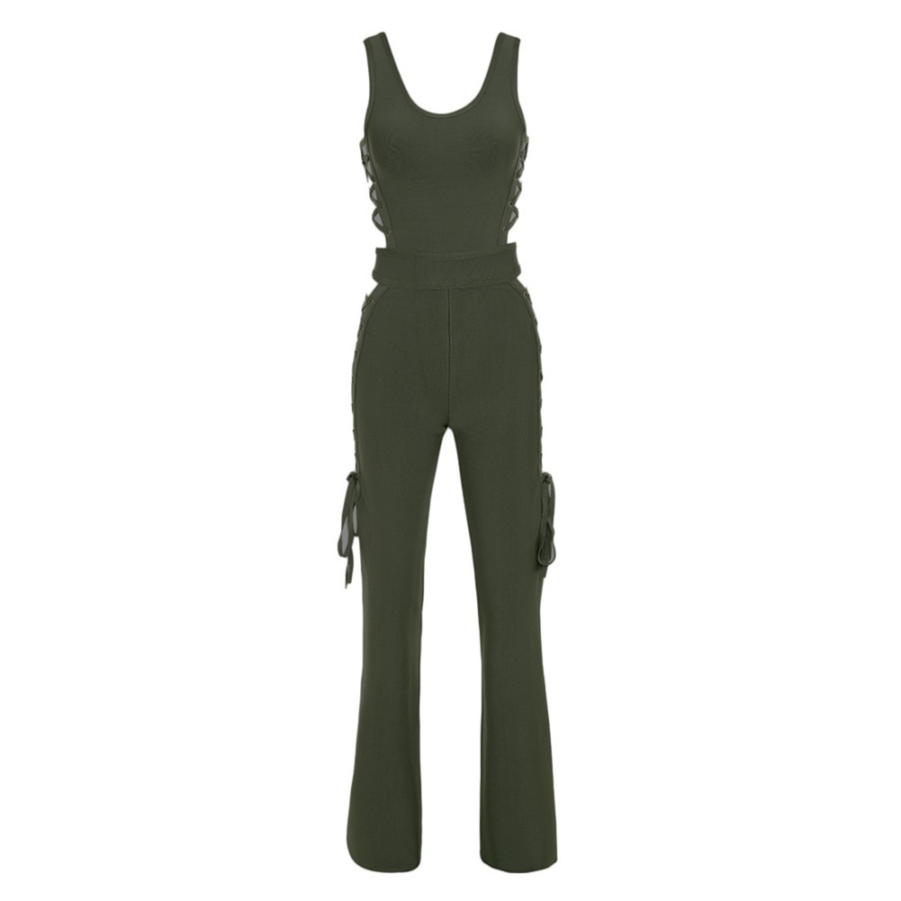 Rayon - Olive Round Neck With Tie Sides Sleeveless Bandage Jumpsuit HJ428-Olive