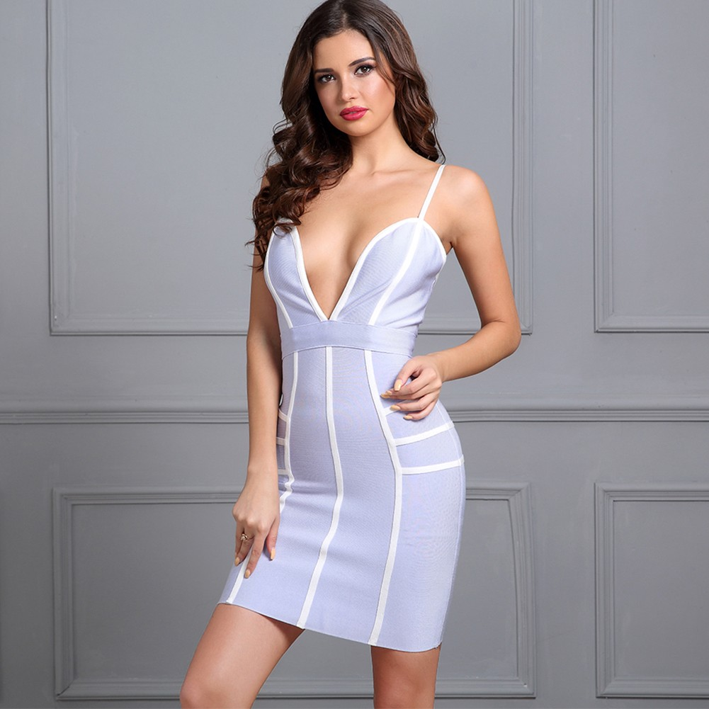 Rayon - Blue Strapy Sleeveless Mini Color Blocked Deep V Party Bandage Dress H0003-Blue