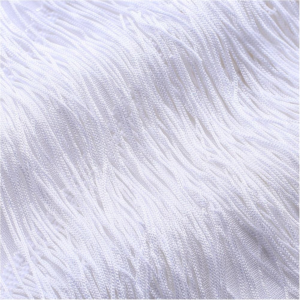 Rayon - White Off Shoulder Sleeveless Mini Tassels Fashion Bandage Dress SW010-White