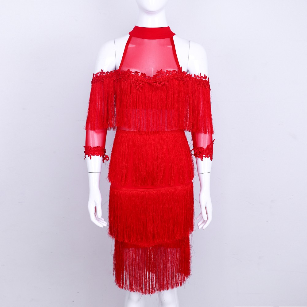 Rayon - Red Turtle Neck Capsleeve Mini Tasseled Lace Top Quality Bandage Dress HJ454-Red