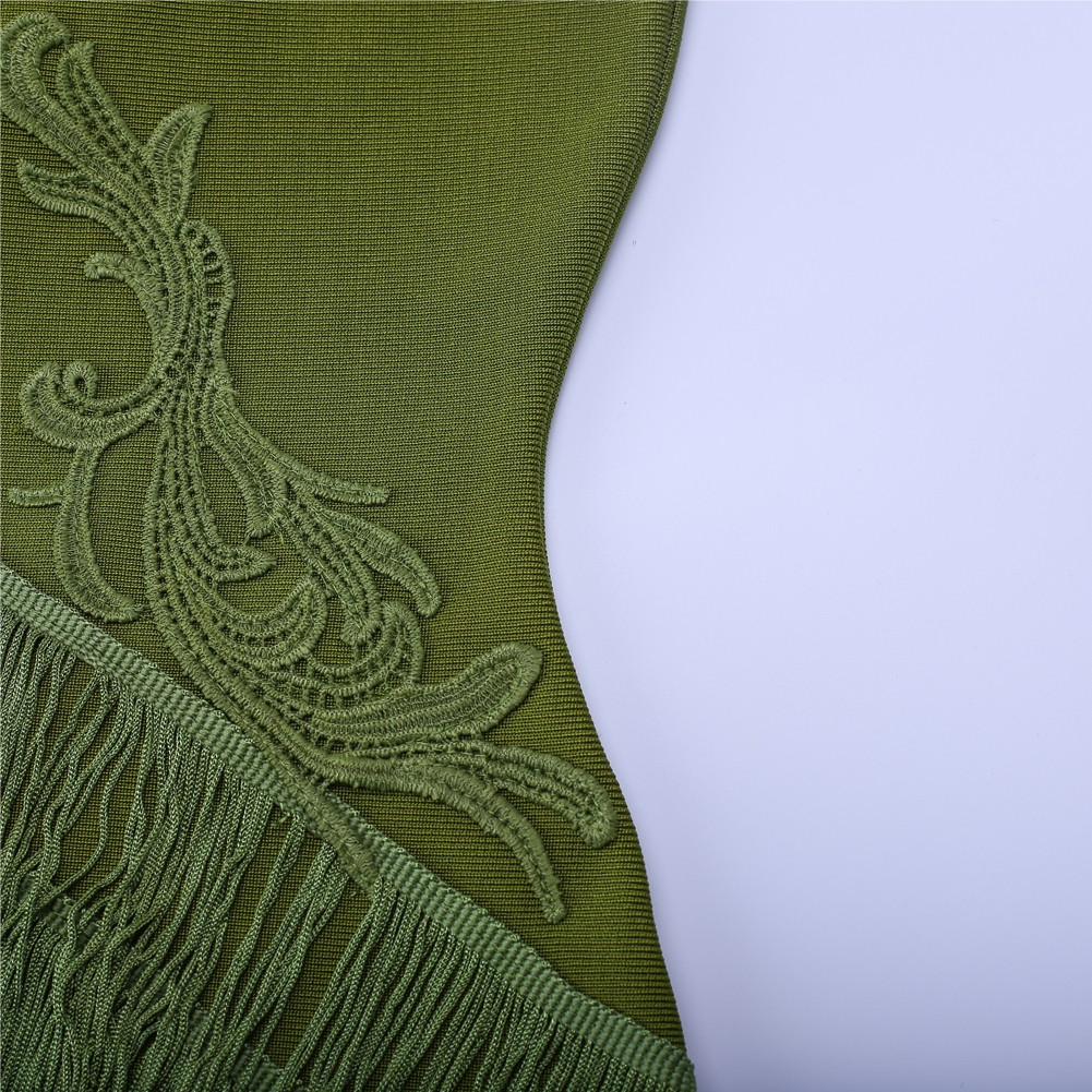 Rayon - Green Off Shoulder Sleeveless Mini Tassels Fashion Bandage Dress SW010-Green