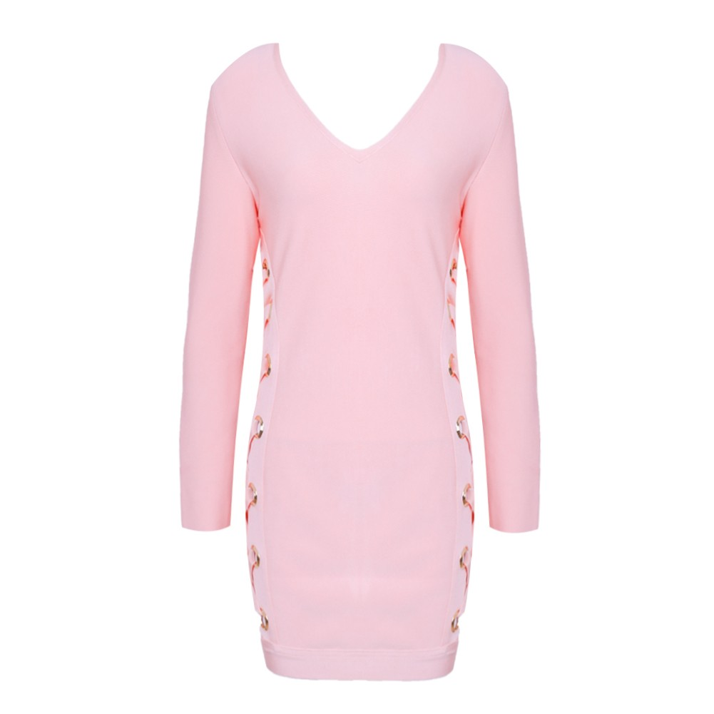 Rayon - Pink V Neck Long Sleeve Mini Lace Up High Quality Bandage Dress H0039-Pink