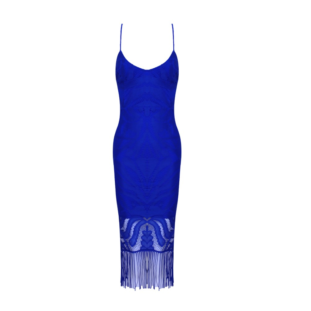 Rayon - Navy Blue Strapy Sleeveless Over Knee Lace Tassels Party Bandage Dress HJ080139-Navy Blue