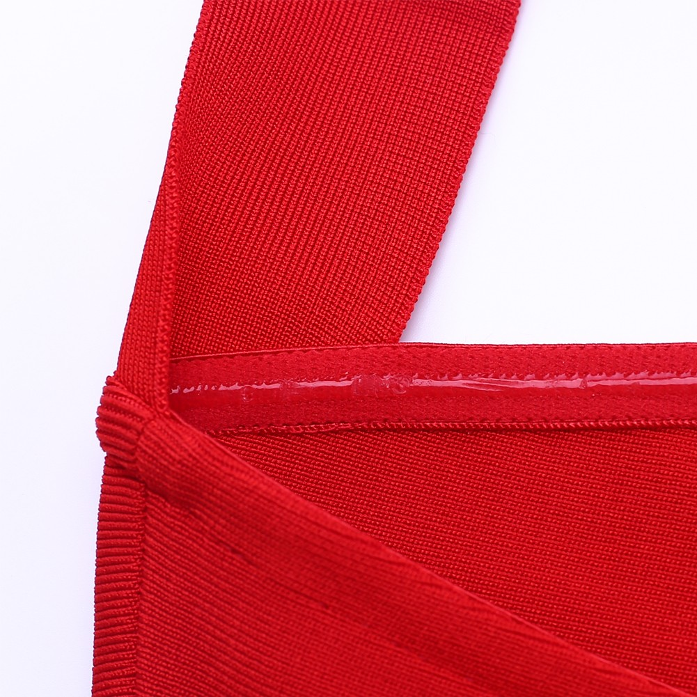 Red Halter Sleeveless Over Knee Plain Backless Party Bandage Dress HQ219-Red
