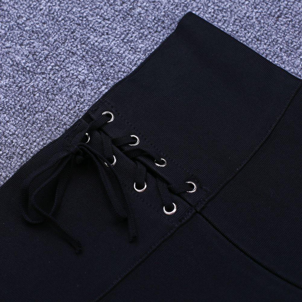 Rayon - Black Lace Up High Quality Bandage Pants H0054-Black