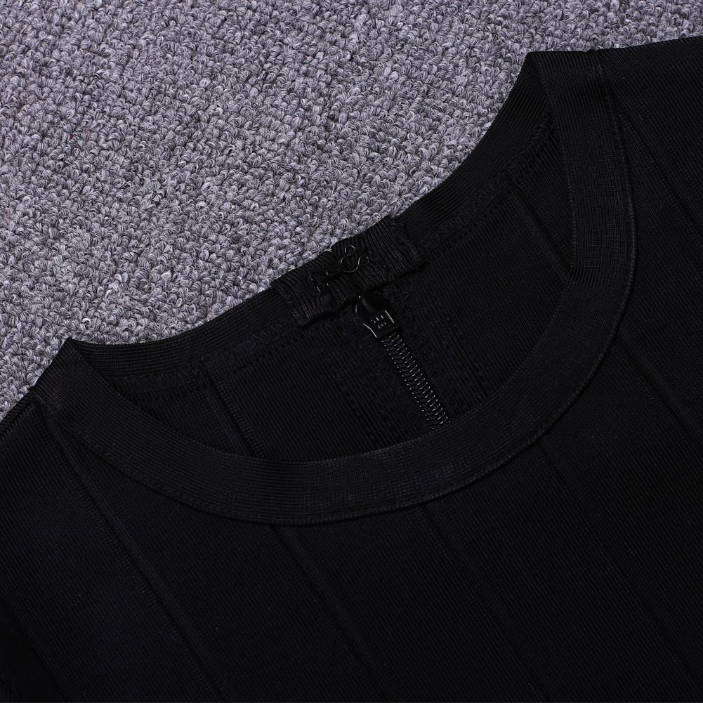 Fashion Round Neck Longsleeve Mini Black Cut Out Metal Crochet Bandage Dress HT1590-Black