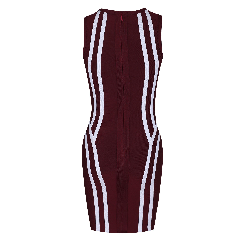 Wine Round Neck Short Sleeve Over Knee Plat Party Bandage Dress HI916-Wine