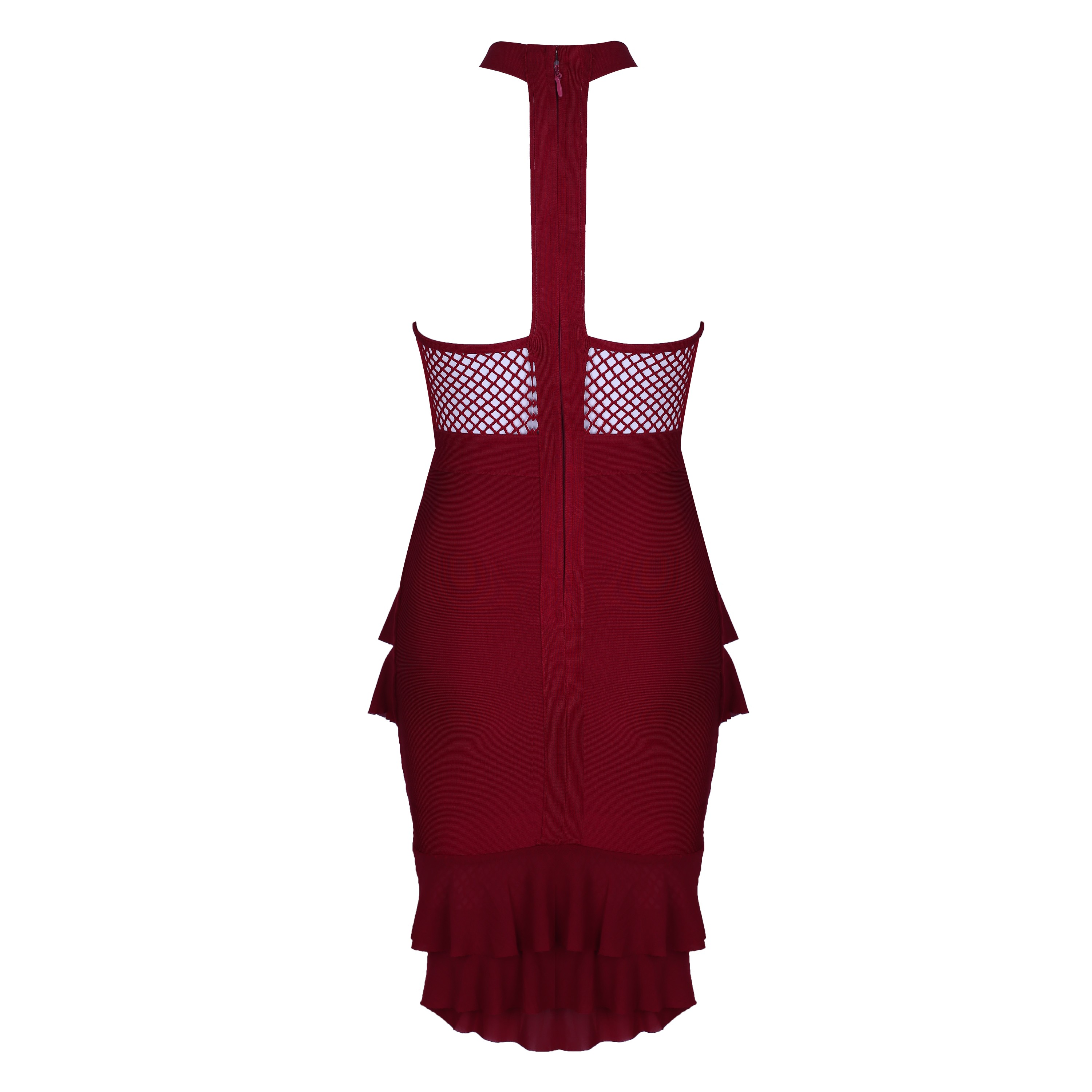Wine Halter Sleeveless Over Knee Ruffles Fashion Bandage Dress HI923-Wine