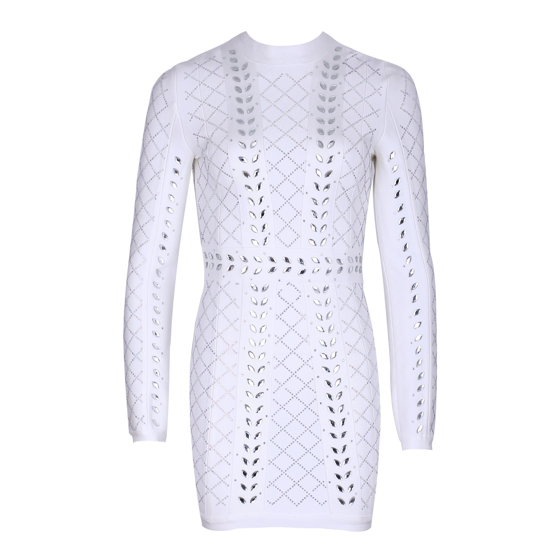 Rayon - White Round Neck Long Sleeve Mini Beaded Diamente Embellished High Quality Bandage Dress SW022-White