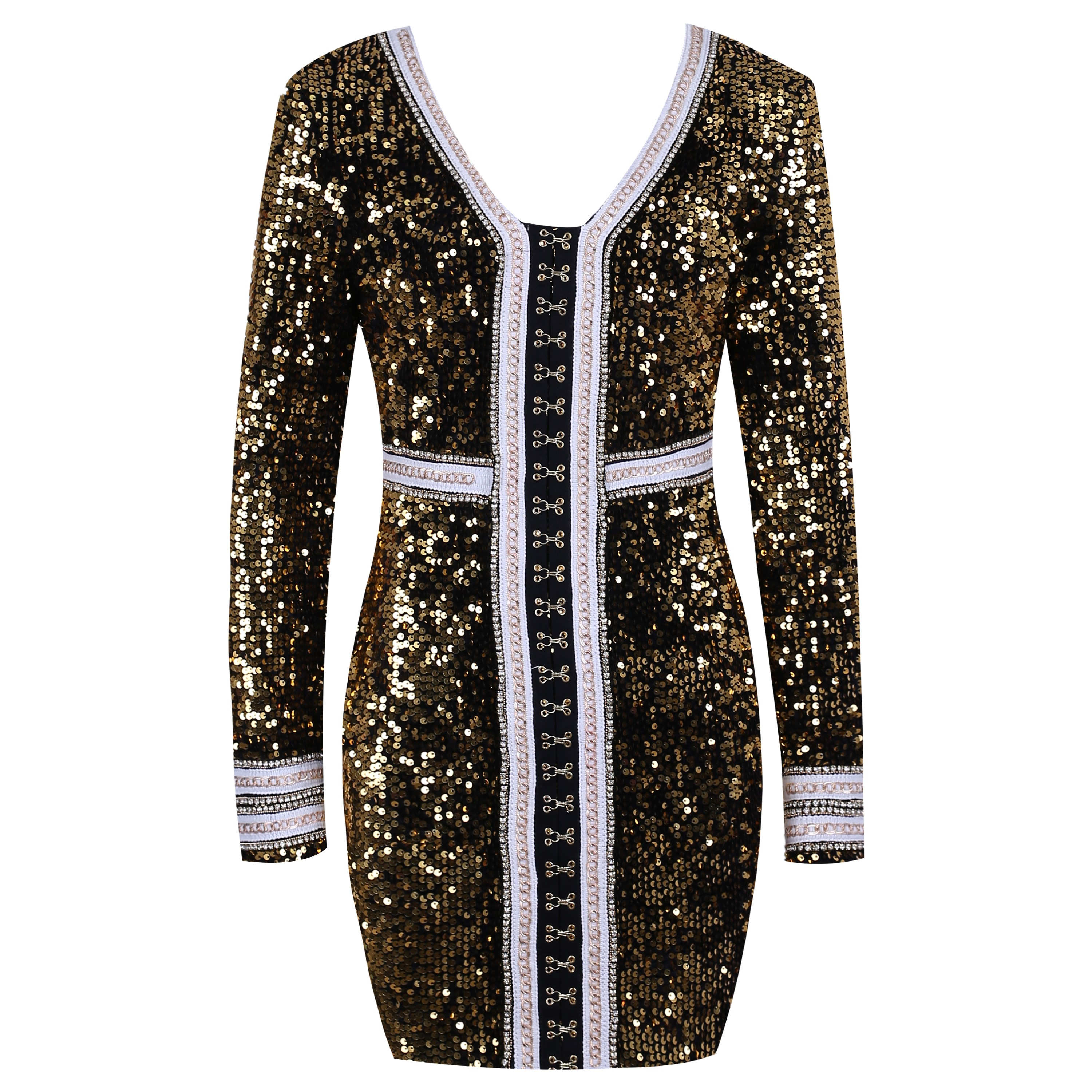 Gold V Neck Long Sleeve Mini Sequined Metal Embellished Newest Bodycon Dress HW240-Gold
