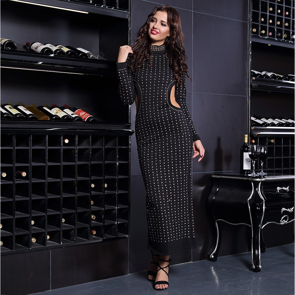 Rayon - Black Round Neck Long Sleeve Maxi Metal Studded Cut Out Party Bodycon Dress HJ492-Black