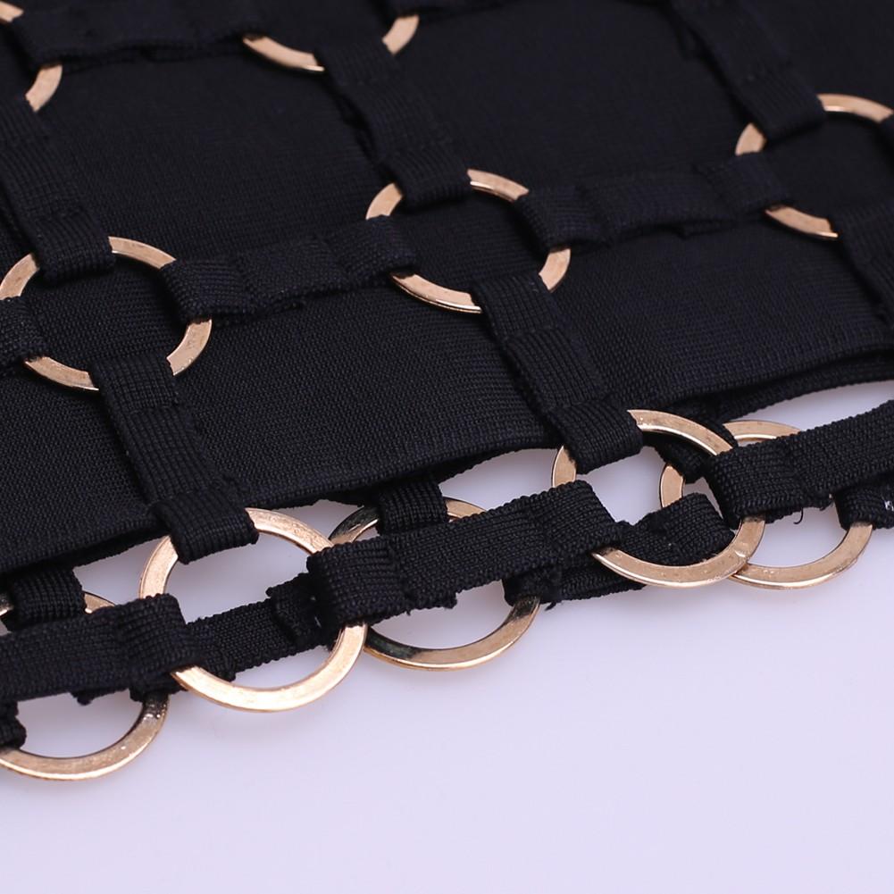 Rayon - Black Halter Cap Sleeve Over Knee Metal Embellished Weaved Heavy Bandage Dress HJ509-Black