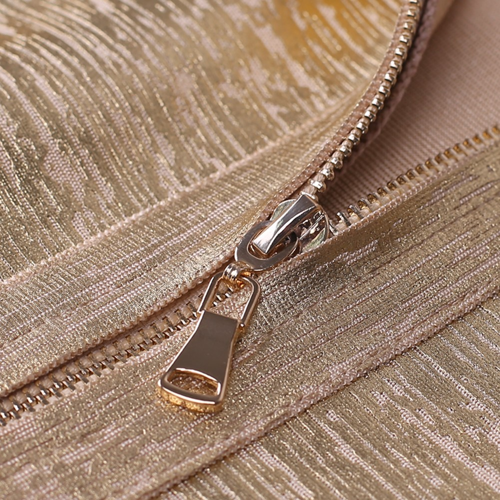 Gold V Neck Sleeveless Mini Foil Printing Plain Best Quality Bandage Dress HQ242-Gold