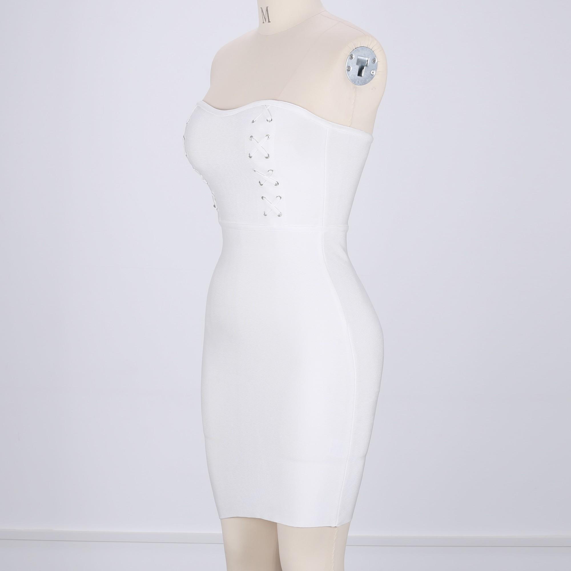 Rayon - White Strapless Sleeveless Mini Metal Studded Lace Up Sexy Bandage Dress H0110-White