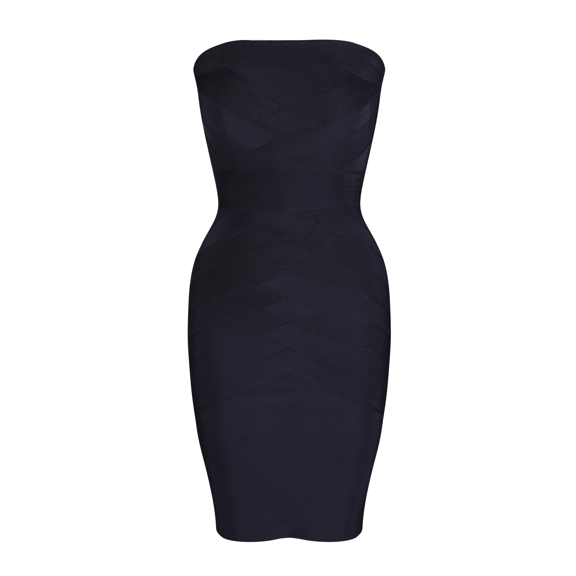 Black Strapless Sleeveless Over Knee Flat Fashion Bandage Dress HQ243-Black