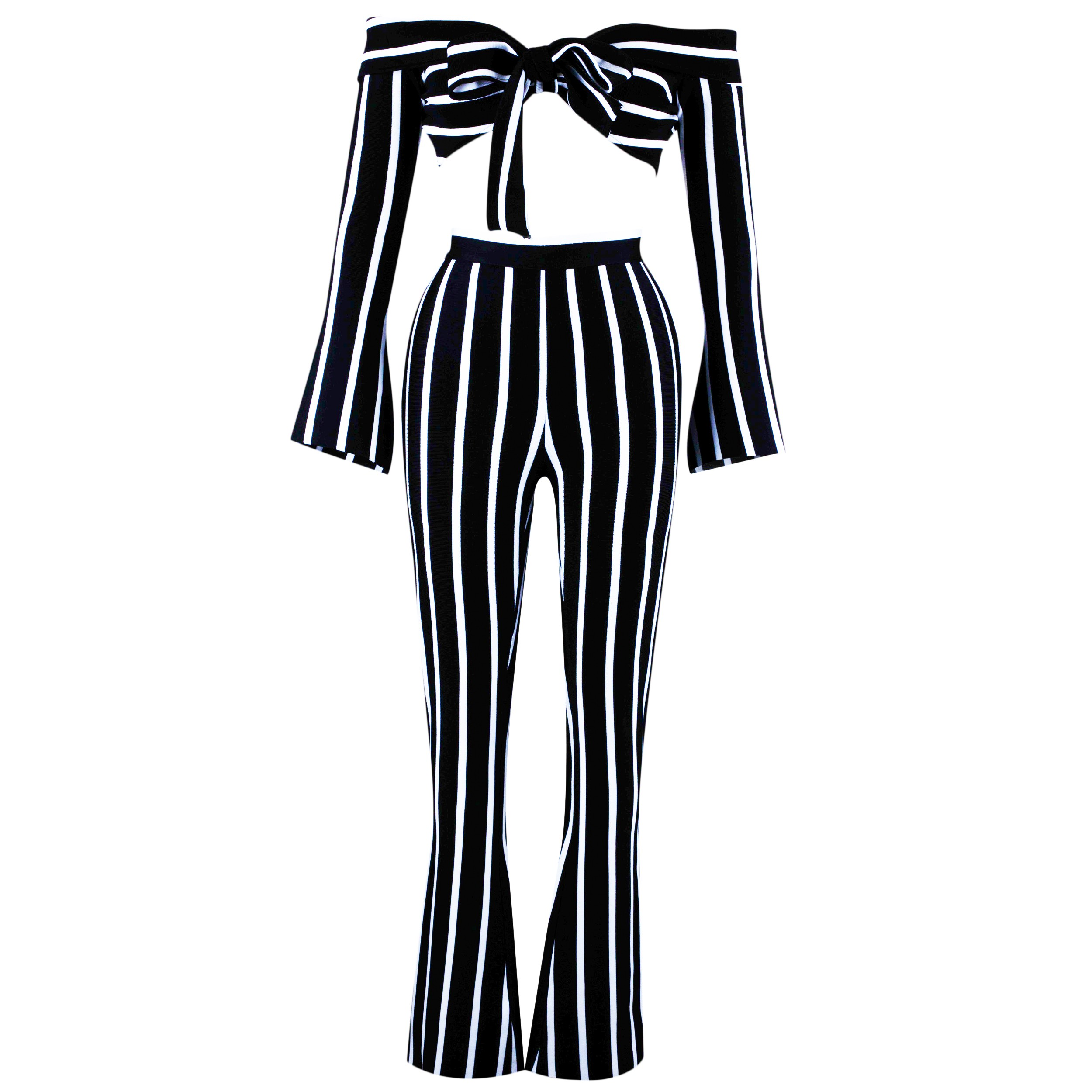 Rayon - Black Strapless Longsleeve 2 Piece Stripe Fashion Jumpsuits HJ537-Black