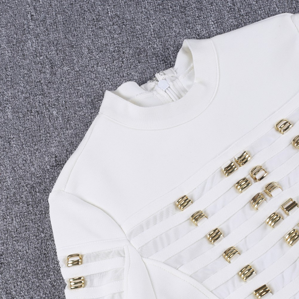 White High Neck Long Sleeve Mini Grid Meshed Club Bandage Bodysuit HB1010-White