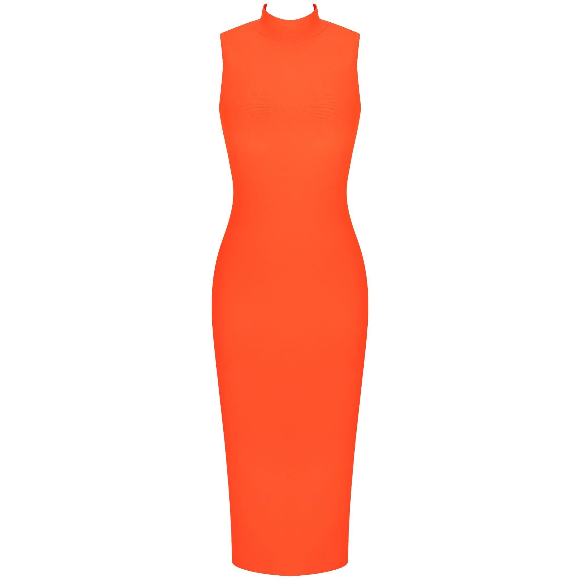 Neon Orange Over Knee Sleeveless High Neck Bandage Dress PF19072-Neon-Orange