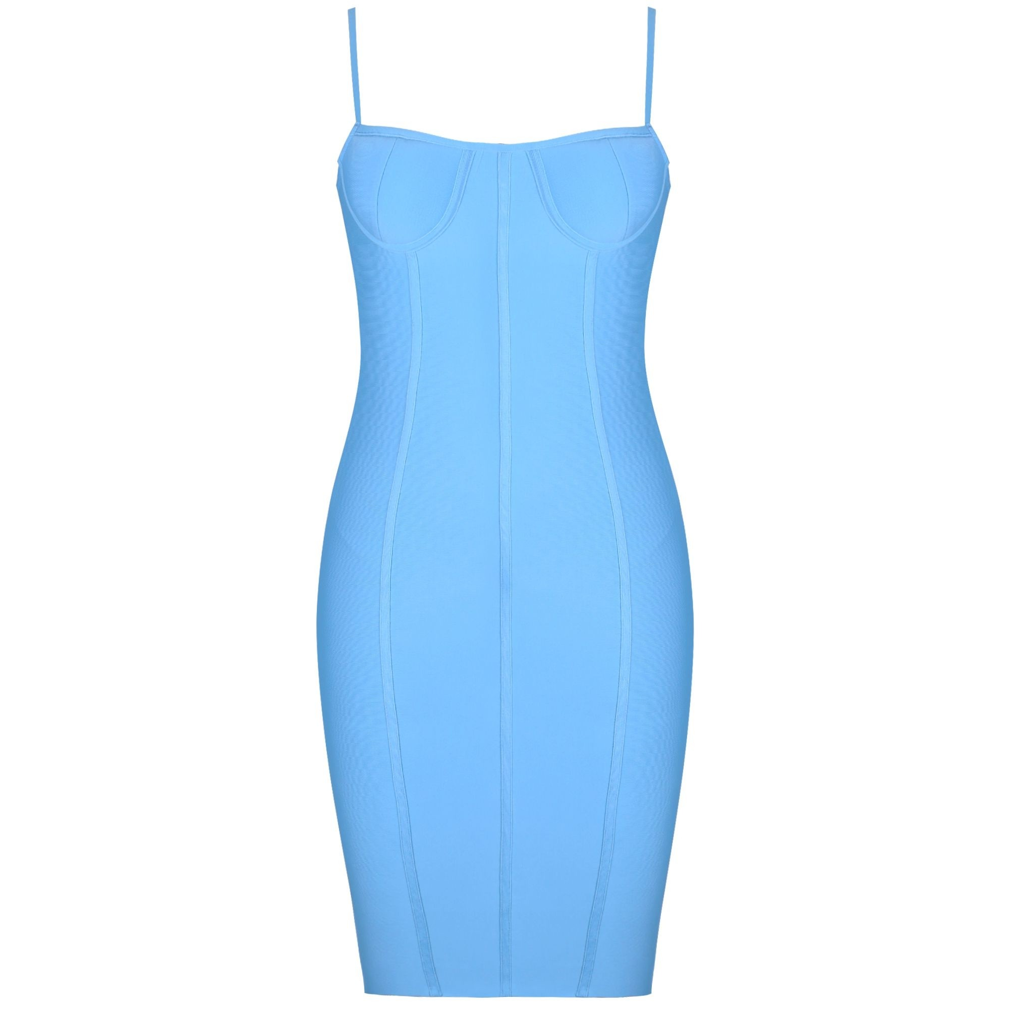 Blue Plus Size Striped Over Knee Sleeveless Strapy Bandage Dress DF0703-Blue
