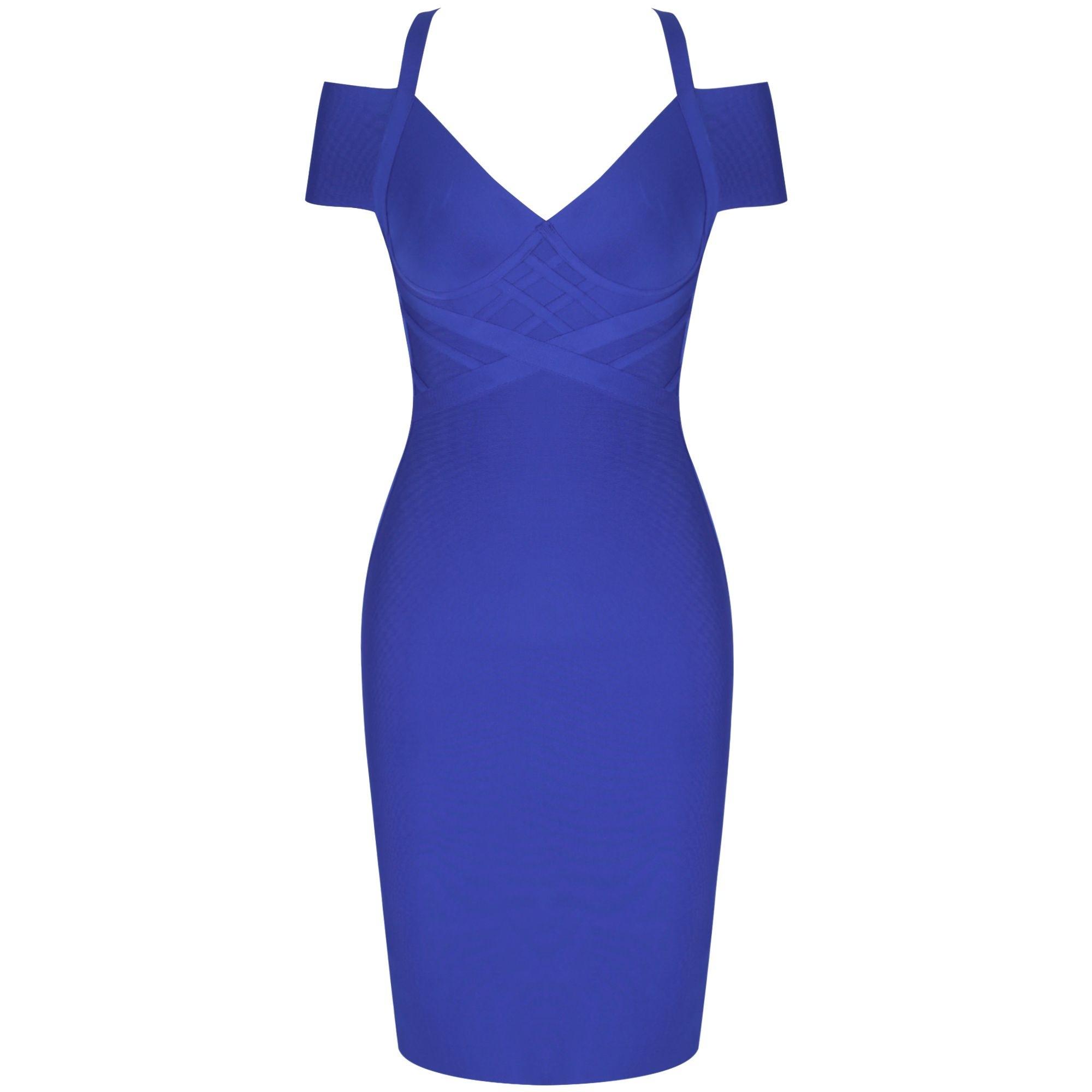 Roya Blue Striped Over Knee Short Sleeve Strapy Bandage Dress PF19089-Roya-Blue