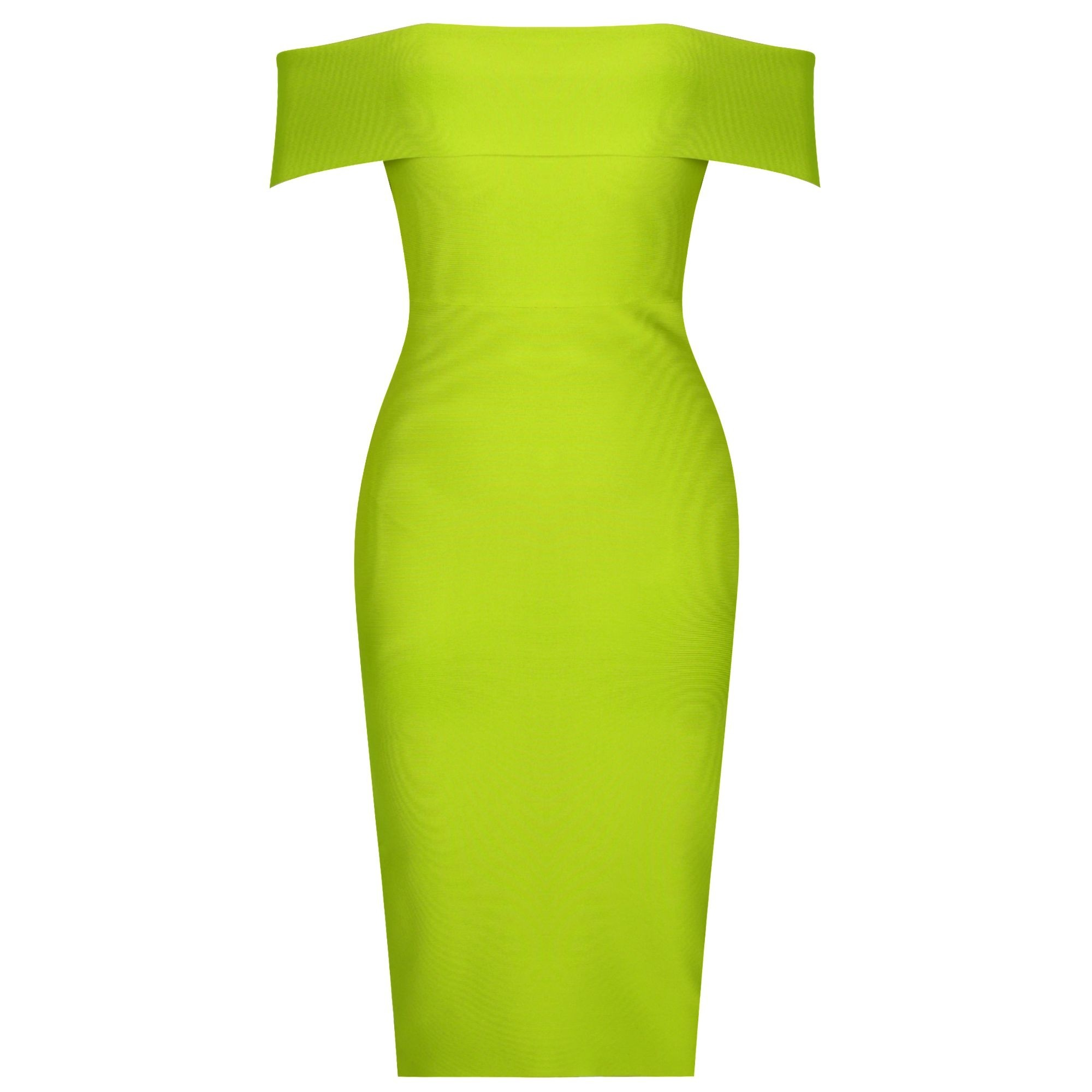 Green Backless Over Knee Short Sleeve Off Shoulder Bandage Dress PF19162-Green