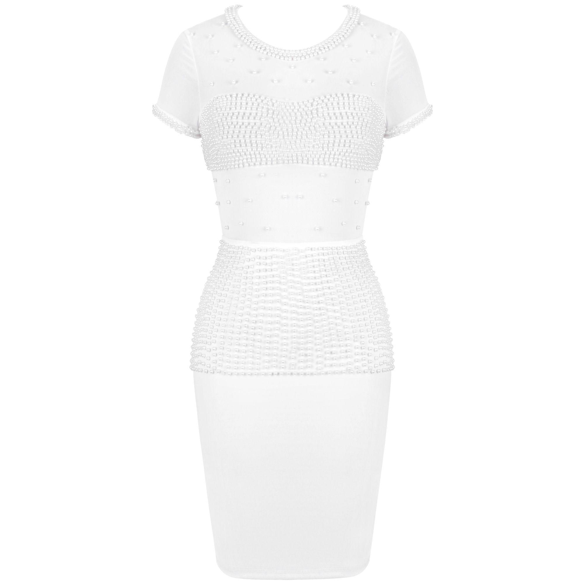 White Nail?Bead Mesh Mini Short Sleeve Round Neck Bodycon Dress FSP19137-White
