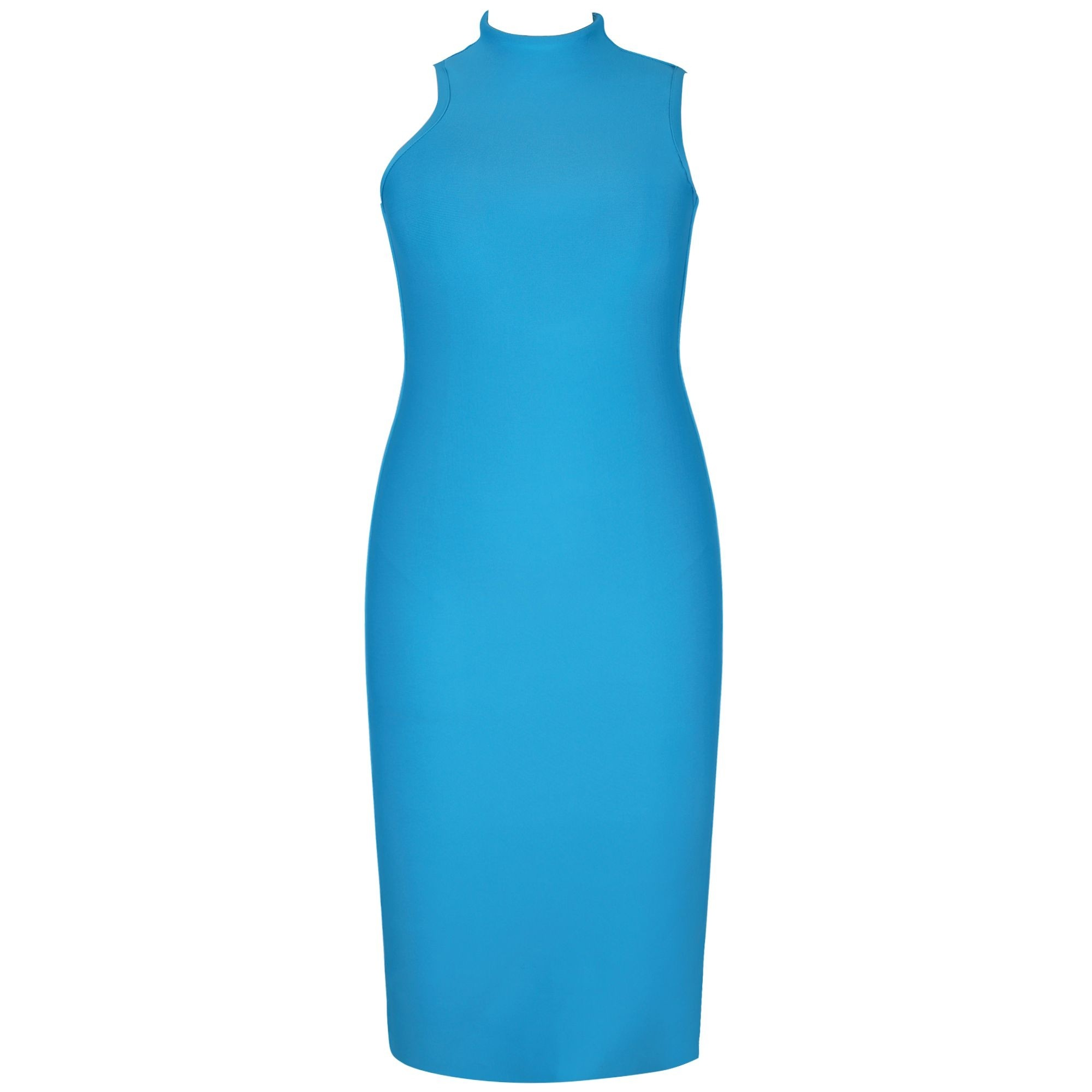 Blue Round Neck Sleeveless Over Knee Fashion Bandage Dress PPHK053-Blue