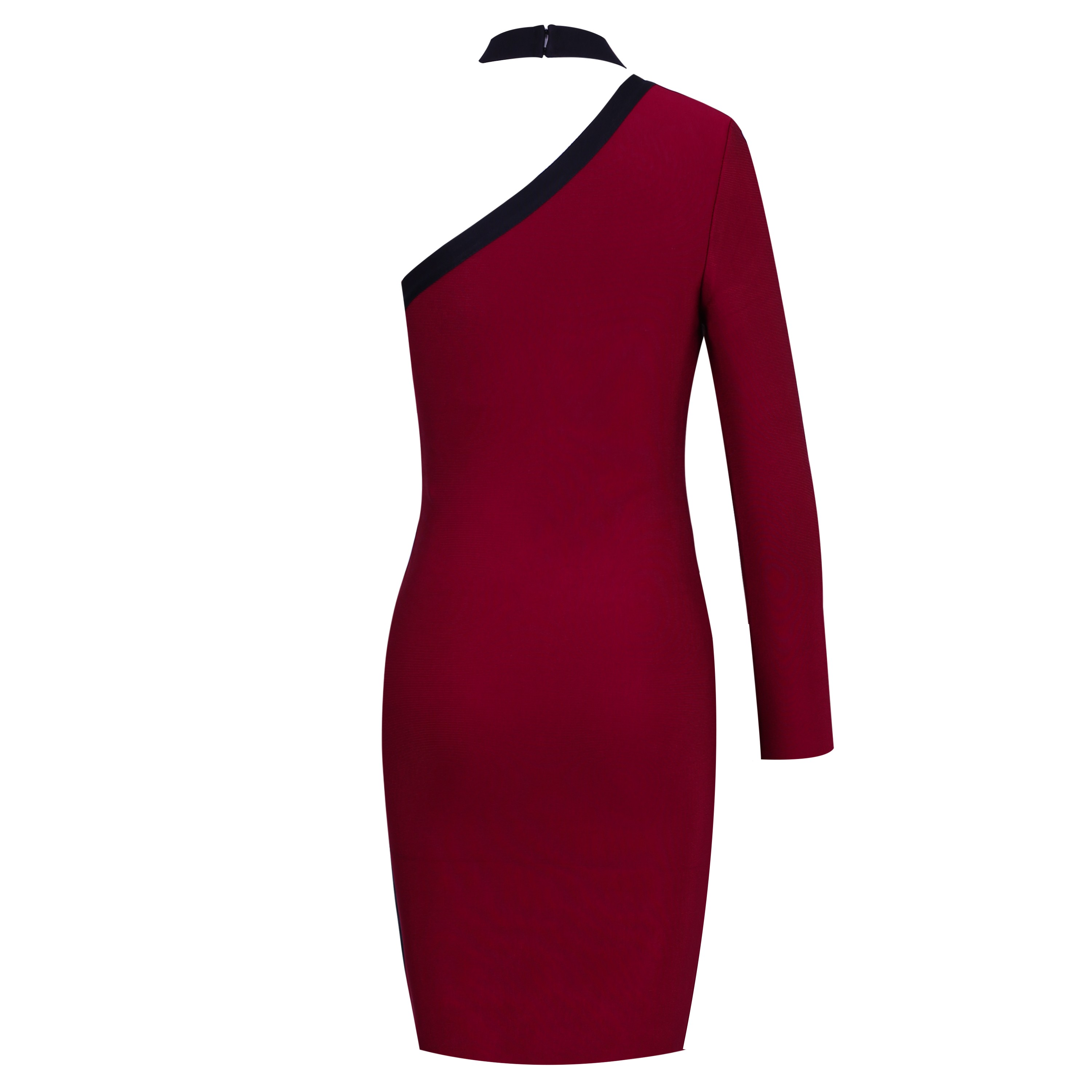 Wine One Shoulder Long Sleeve Knee Length Cut Out Plain Dropshipping Bandage Dress HI906-Wine
