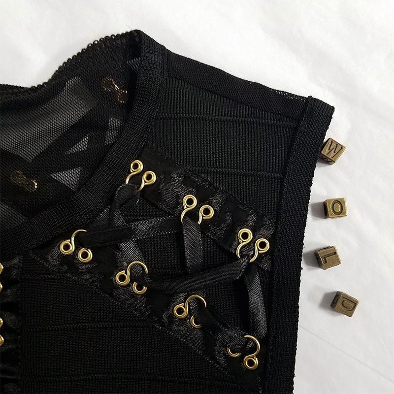 Evening Round Neck Sleeveless Mini Black Tassels Bandage Dress HT0075-Black