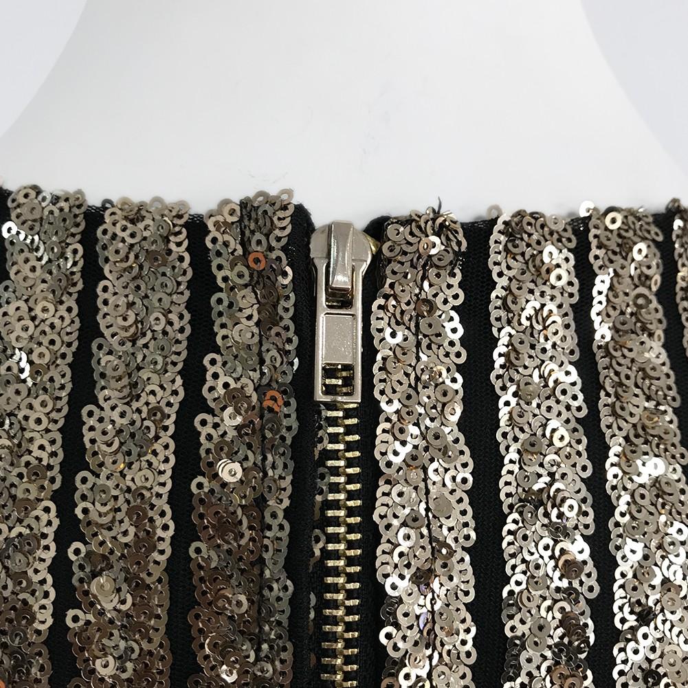 Gold V Neck Sleeveless Maxi Sequined Shinning High Quality Bandage Jumpsuit HX1005-Gold