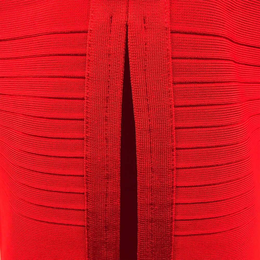 Honey Off Shoulder Short Sleeve Over Knee Red Peplum Neck Back Slitted Bandage Dress