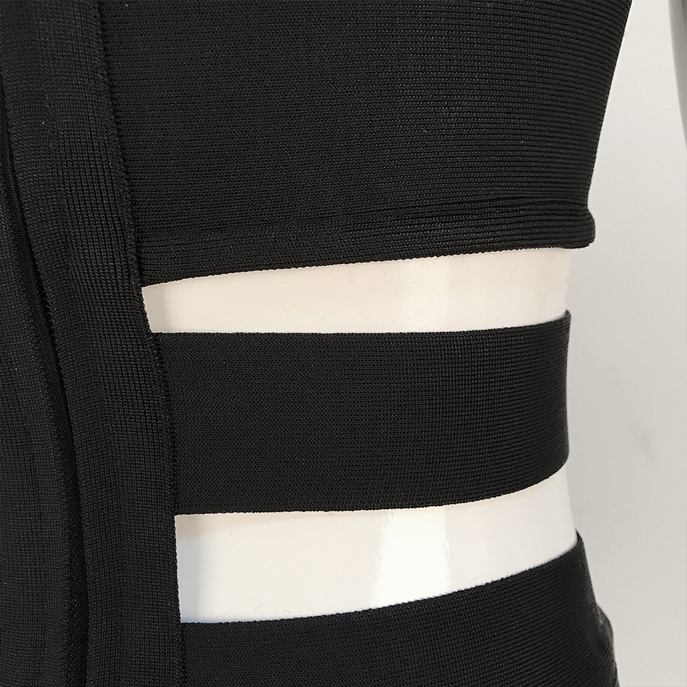 Off Shoulder Sleeveless Exclusive Cutout Black Sexy Bandage Jumpsuit
