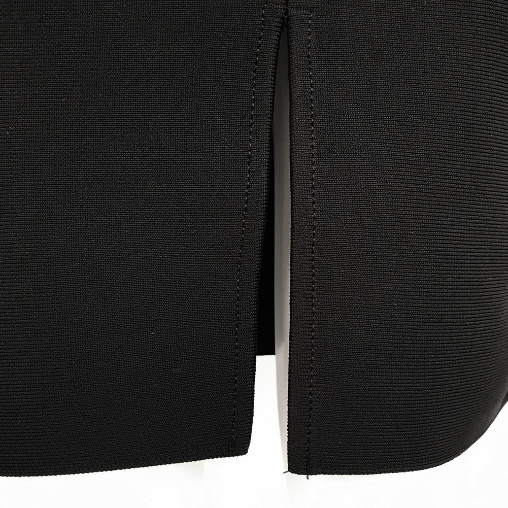 Rayon - Black Strapy Short Sleeve Mini Party Bandage Dress HJ431-Black