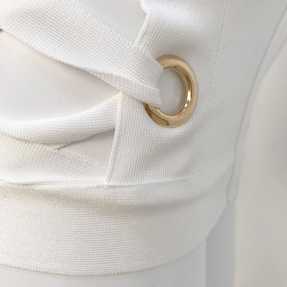 White V Neck Long Sleeve Mini Lace Up Party Bandage Dress HQ201-White