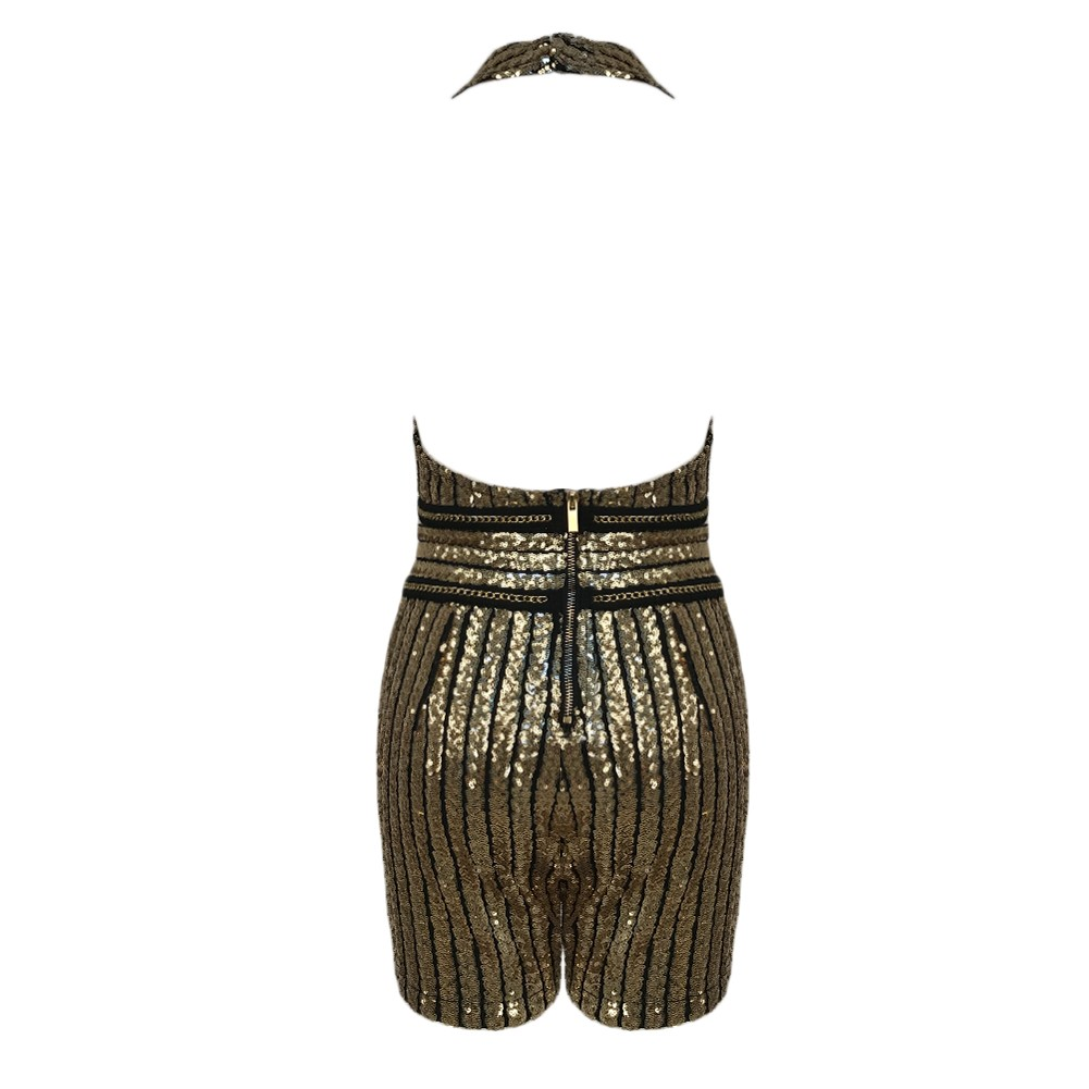 Rayon - Gold Halter Sleeveless Mini Gold Belt Sequins Decorate Sexy Bodycon Jumpsuit HJ436-Gold