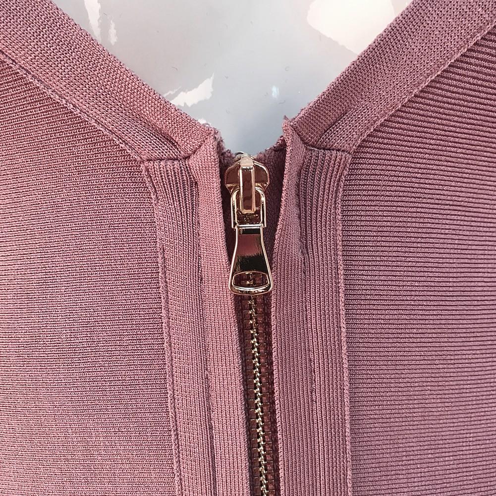 V Neck Mid Sleeve Over Knee Pink High Quality Bandage Dress H988-Pink